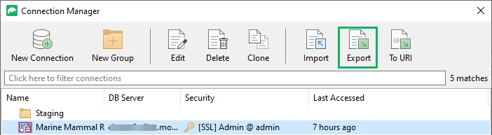 Export connection to a connection string or URI
