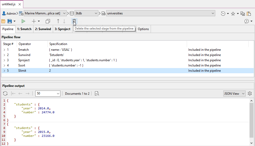 """Use the """"delete stage from pipeline"""" button to remove stages in the Aggregation Editor."""