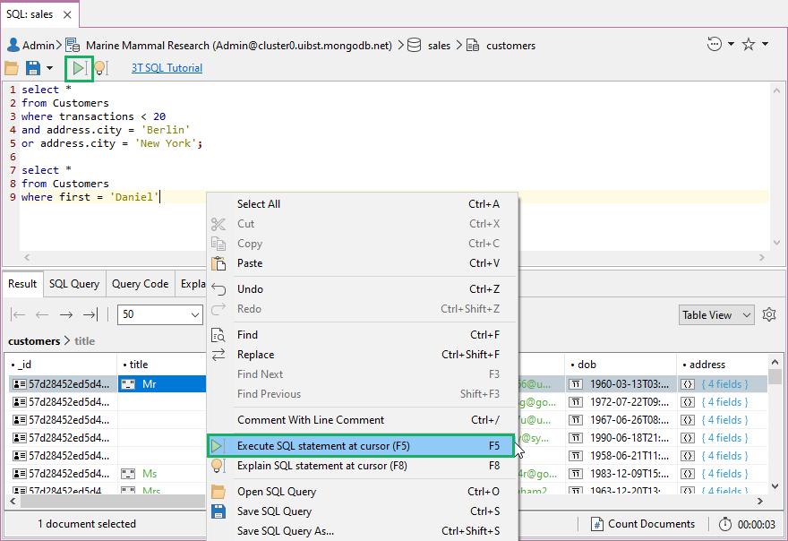 Execute SQL statement at cursor