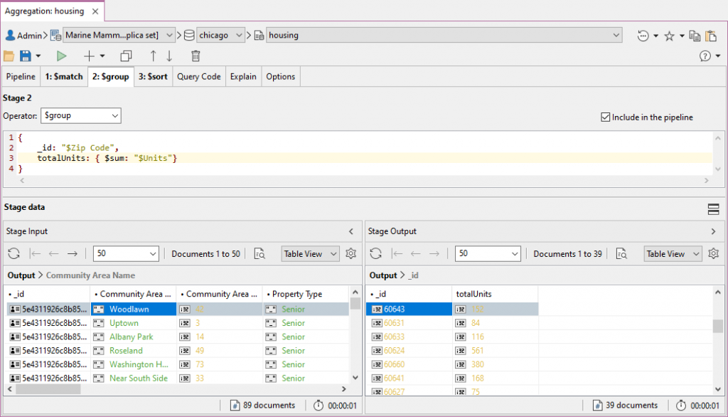 The Stage Tab in Aggregation Editor
