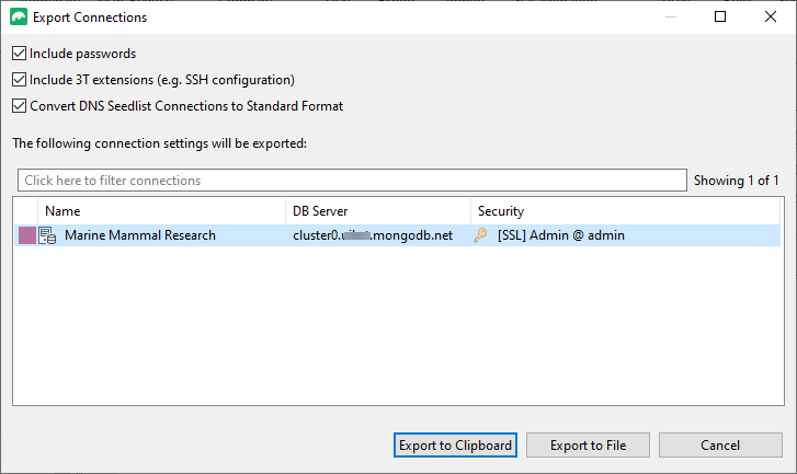 Export connection settings to a URI or file