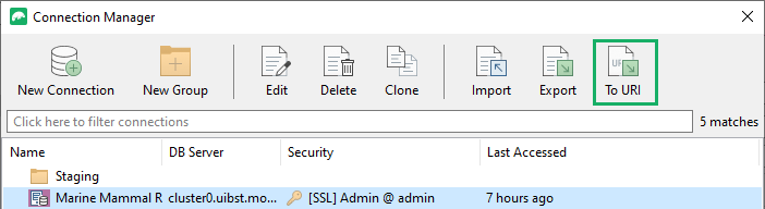 Export your connection to a URI file