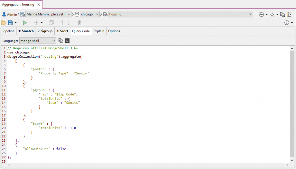 The Query Code with Aggregation Editor