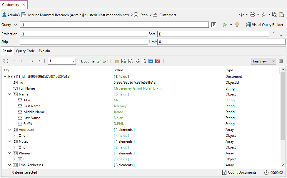 Viewing the schema of a MongoDB collection