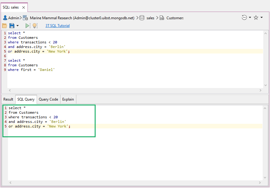 View the executed query under the SQL Query ta