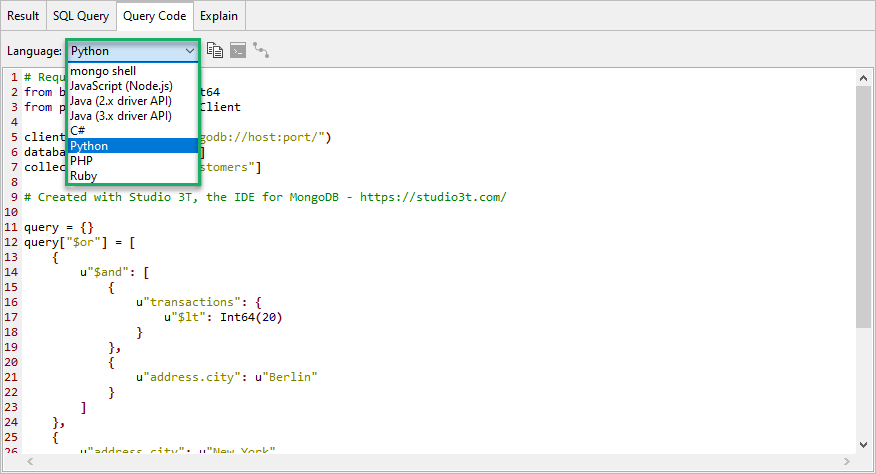 Generate instant code in 5 languages from SQL queries