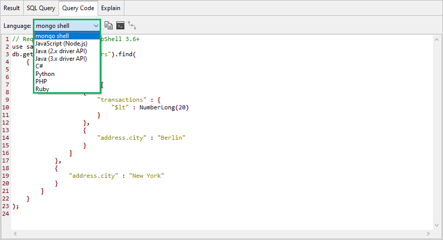 After you query MongoDB with SQL, you can also view the equivalent MongoDB query under the Query Code