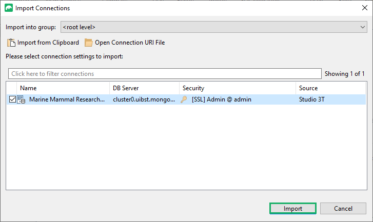 Choose the uri file then click on Import