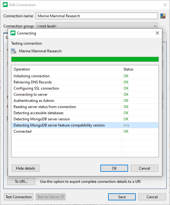 Test MongoDB connection