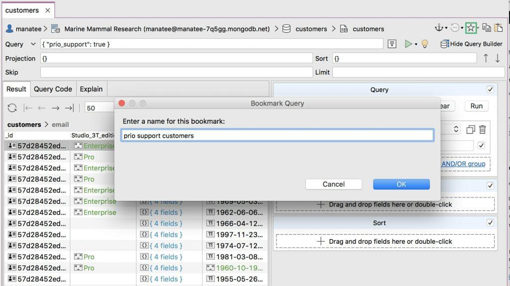 Bookmark a MongoDB query