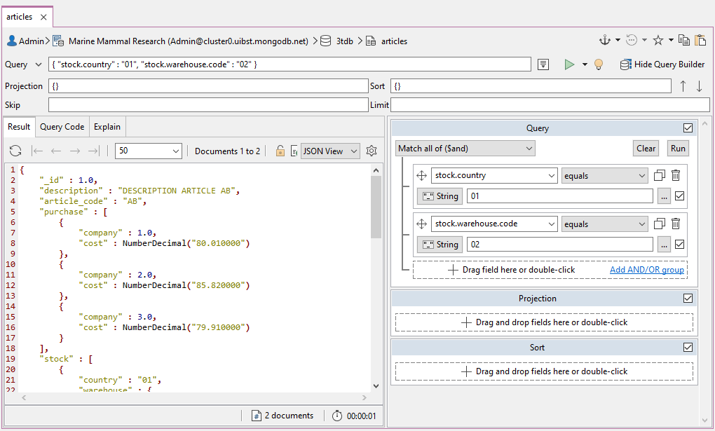 Studio 3T's Visual Query Builder, a MongoDB drag-and-drop query builder