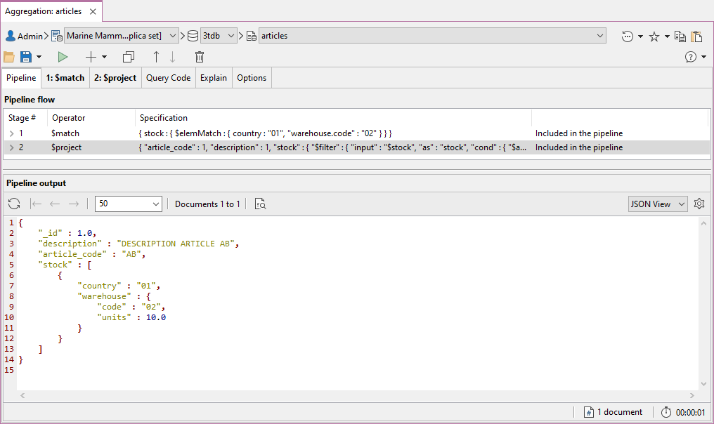 The same MongoDB aggregation query in Studio 3T