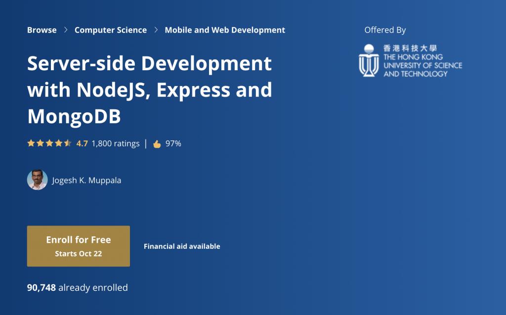 Server-side Development with NodeJS, Express & MongoDB