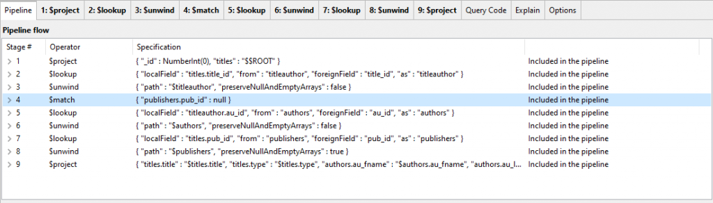 Moving stages up the aggregation pipeline using Studio 3T's Aggregation Editor