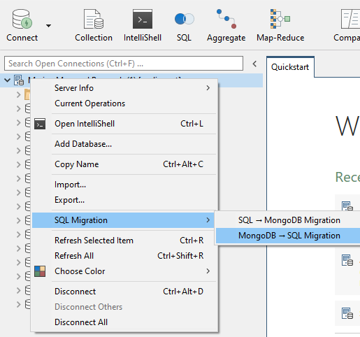 """Open MongoDB to SQL Migration by right clicking in the Connection Tree and going to """"SQL Migration"""""""