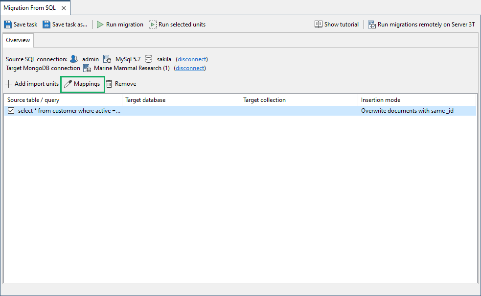 Click on the Mappings tab to further edit the SQL query