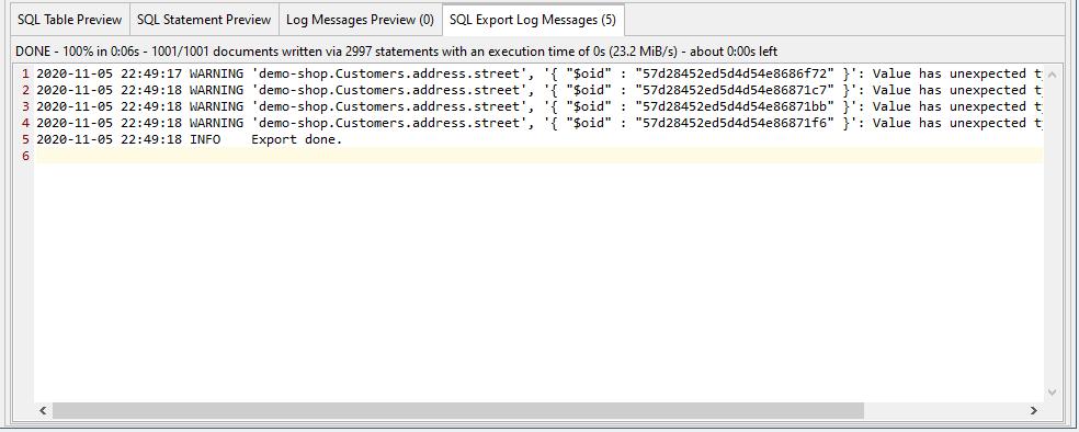 Receive a SQL Export Log