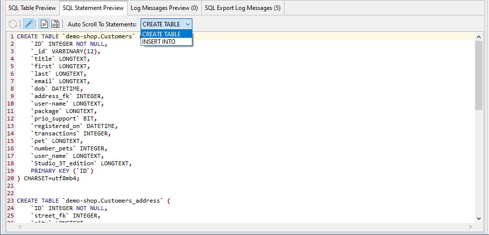 SQL Table Preview in Studio 3T