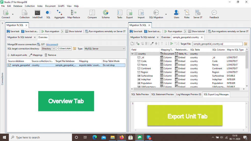 The Overiew Tab and Export Unit Tab in MongoDB to SQL Migration