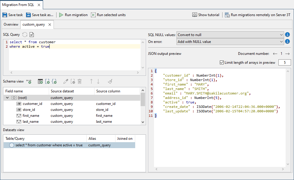 You can continue to edit your SQL query in the Mappings tab