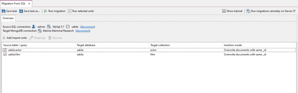 The SQL Migration Overview tab lets you choose your Source SQL connection, Target MongoDB connection, and add the import units (SQL Tables) you want to import.