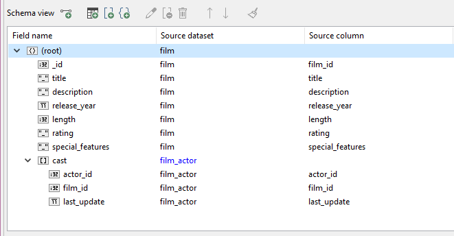 A Cast Field has now been added to the Schema View