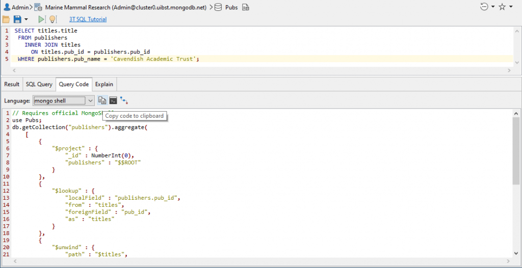 Copying the automatically generated mongo shell code using Query Code, Studio 3T's polyglot code generator