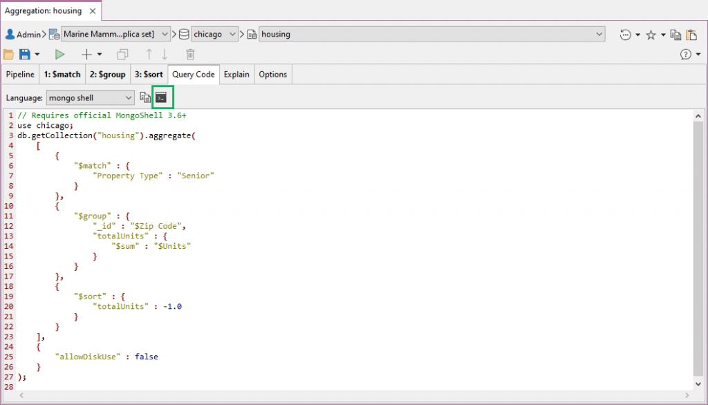 Open mongo shell code directly in IntelliShell