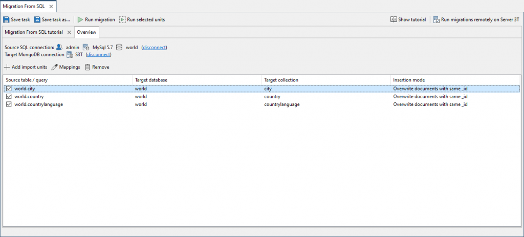All SQL source tables should then appear in the Overview tab