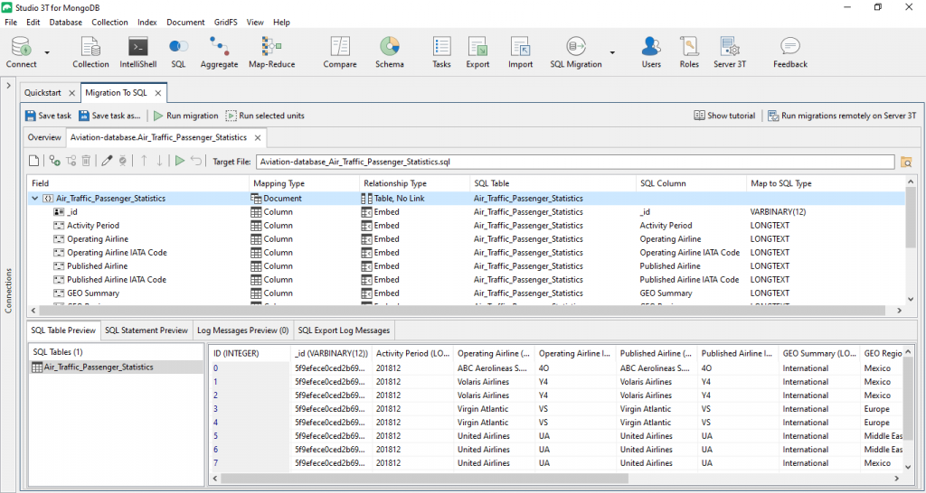 Studio 3T generates a SQL table preview of the data.
