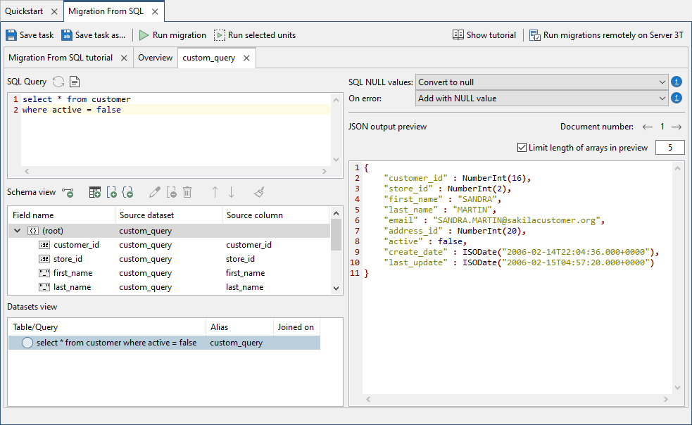 Updated schema in the JSON output preview