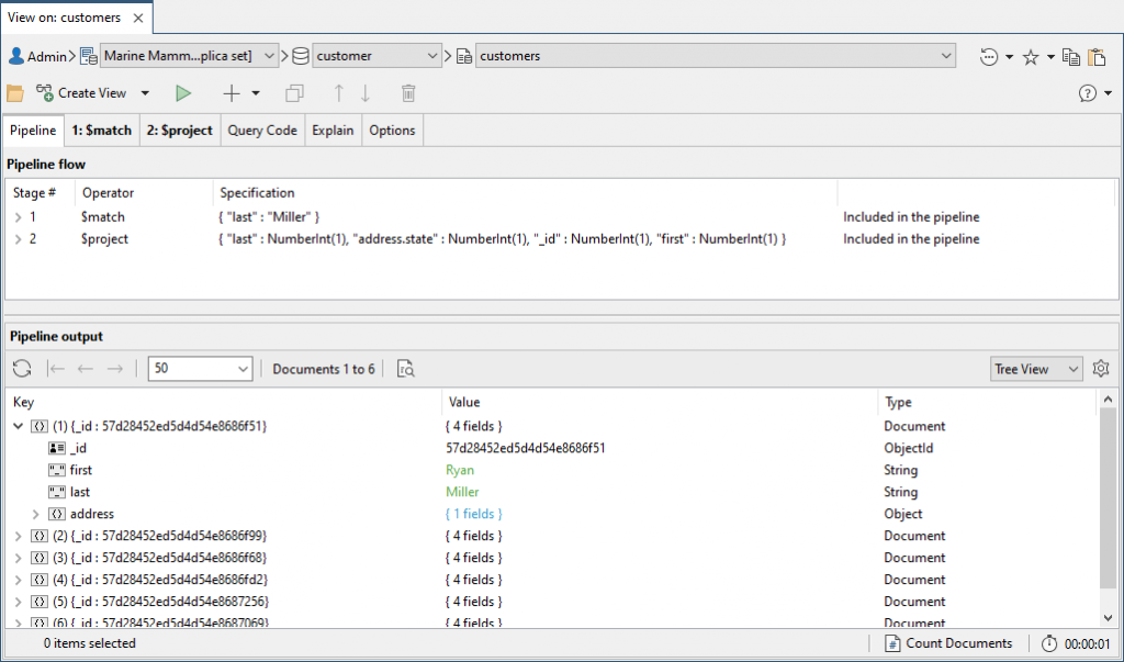 Here, we've added the $match and $project stages in Studio 3T's View Editor