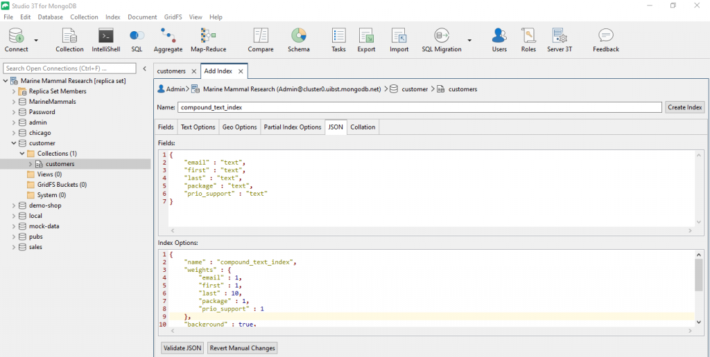 Under the JSON tab, Studio 3T also lets you overwrite the JSON code