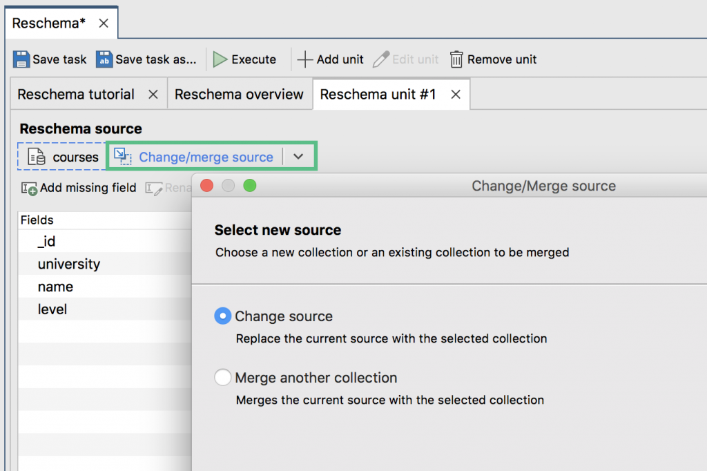 Merge multiple MongoDB source collections