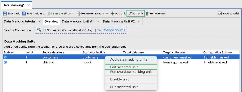 Edit data masking unit