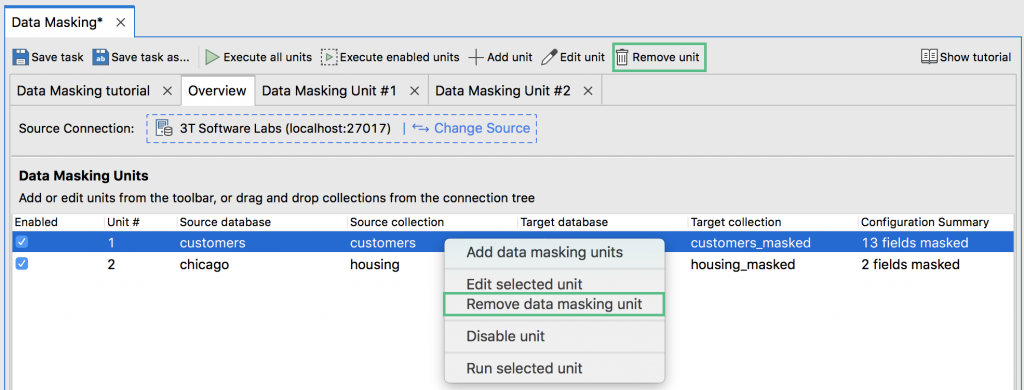 Remove data masking unit