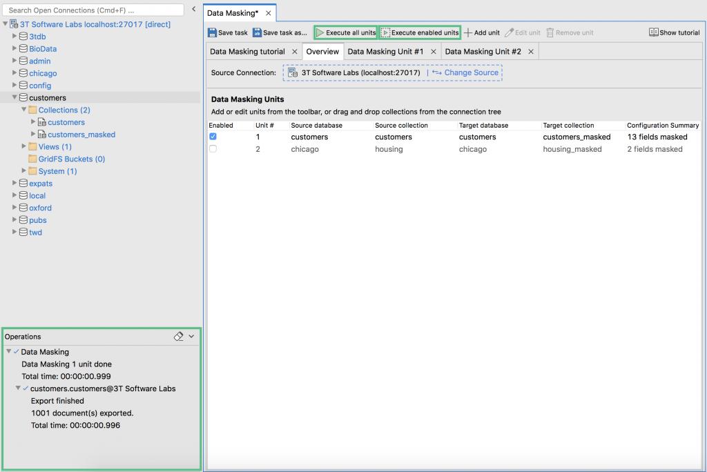 Execute data masking and track data masking operations