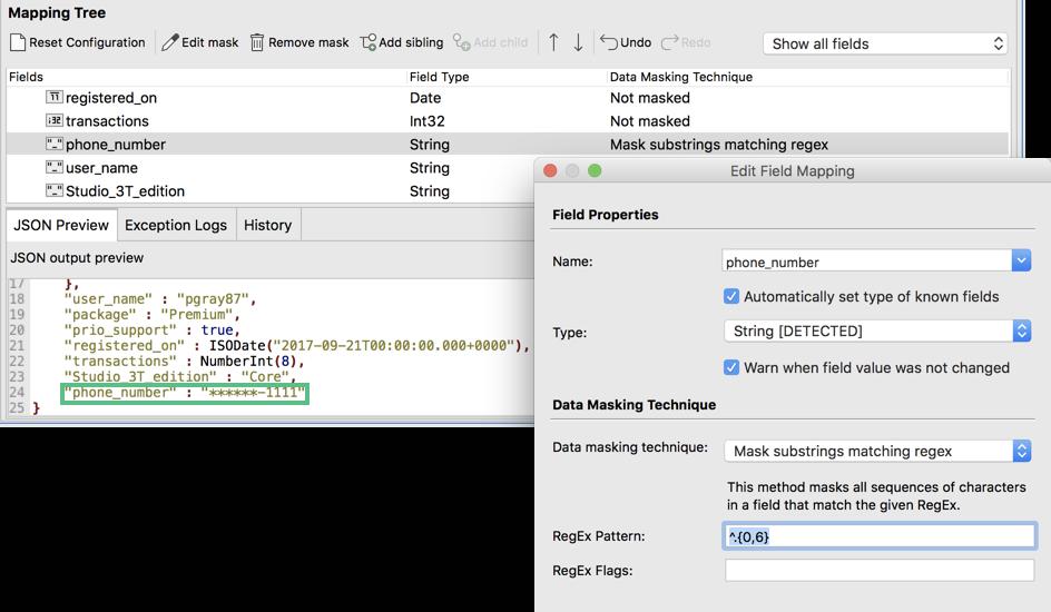 MongoDB data masking tool that allows masking based on regex