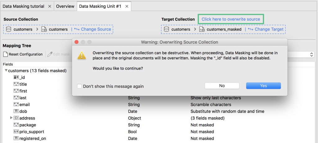 MongoDB data masking tool that lets you overwrite the source collection