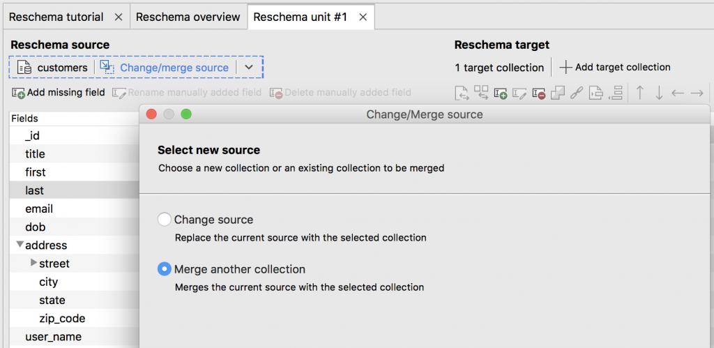 MongoDB migration tool: Merge MongoDB source collections