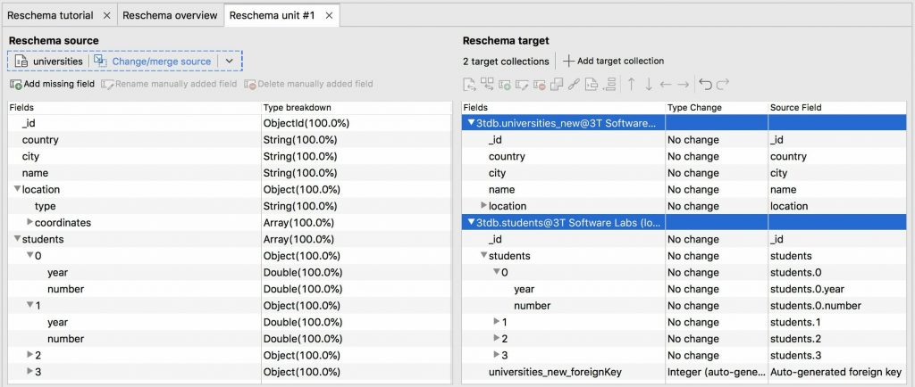 Reschema lets you save fields in different target collections