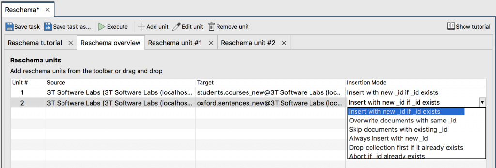 Reschema overview tab with multiple collections