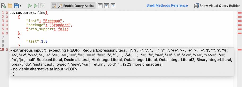Error highlighting in IntelliShell