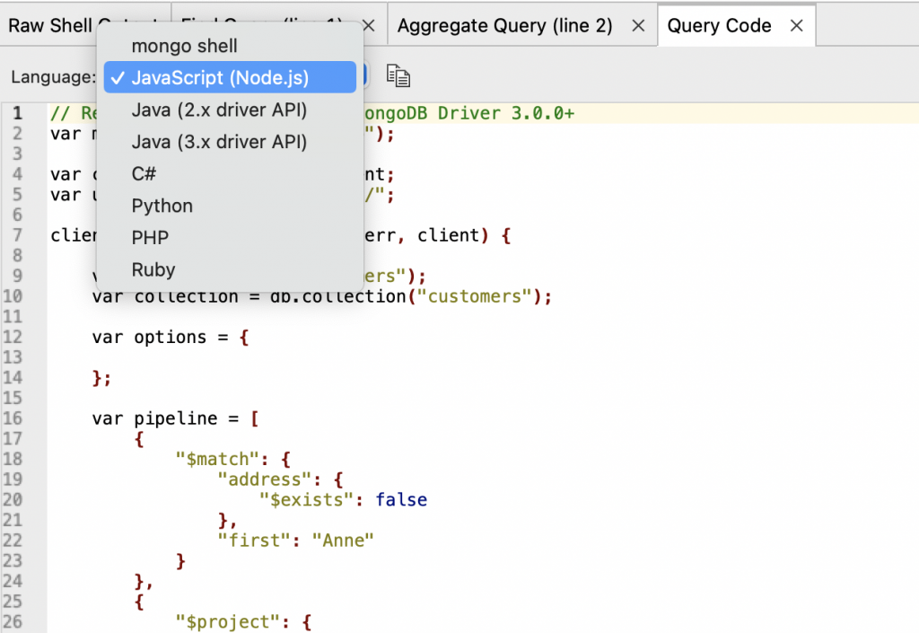 Query Code options