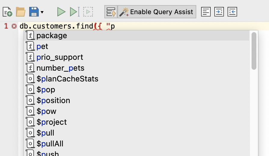 MongoDB query auto-completion