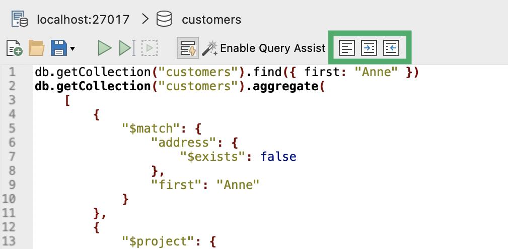 Format MongoDB query code