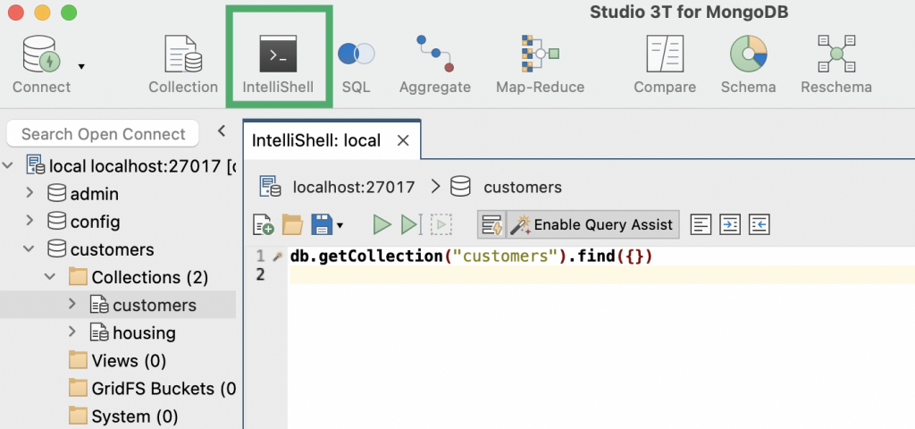 IntelliShell icon in the toolbar