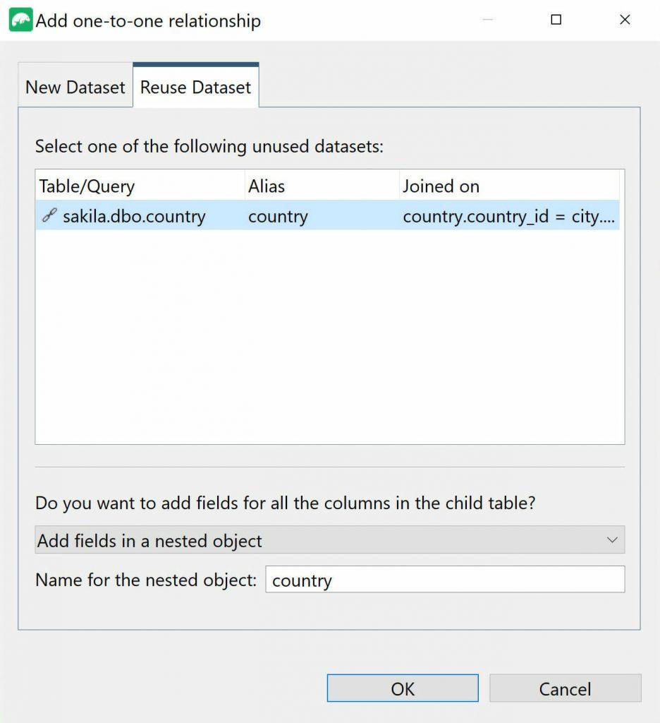 Reuse Dataset dialog