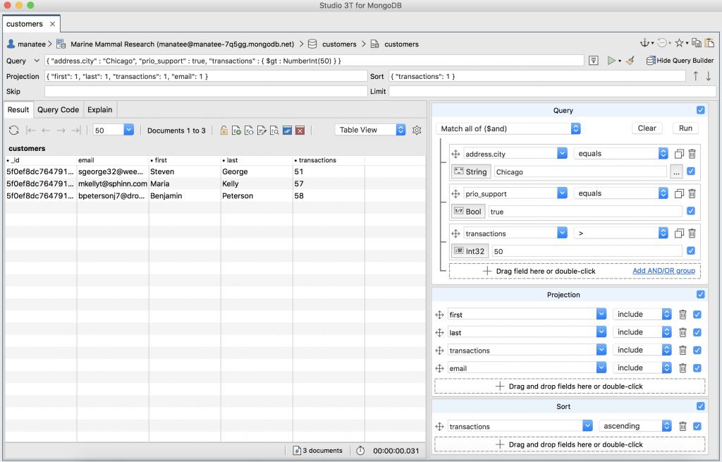 A query built using Visual Query Builder
