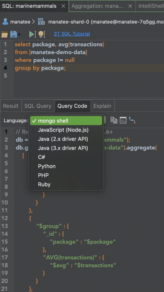 MongoDB Charts - Query code